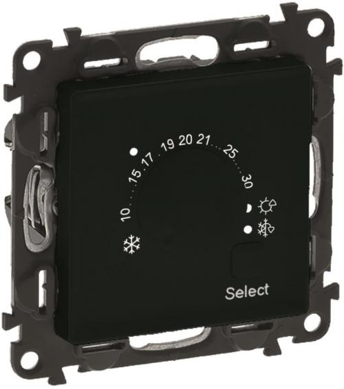 LEGRAND - Електронен термостат за подово и таванно отопление 5-30°C НО-НЗ цвят черен Valena Life  756333