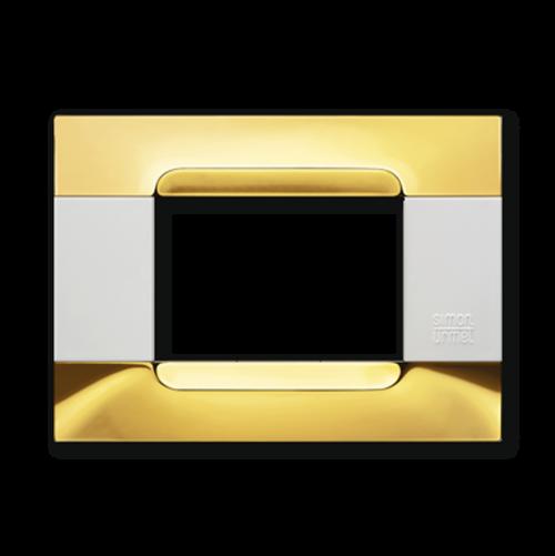 SIMON URMET - 10903.B.96 Glossy Golden Polychrome Metal Finishes Kadra тримодулна рамка