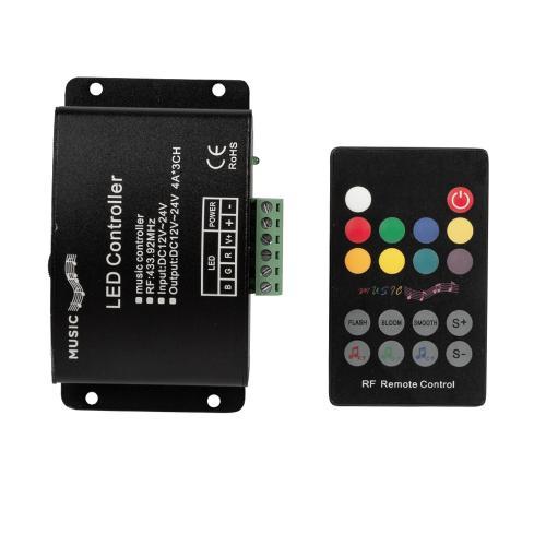 ULTRALUX - RGBRF12MC RF Аудио контролер за RGB LED осветление, 12А, 12-24V DC, 144W (12V), 288W (24V)