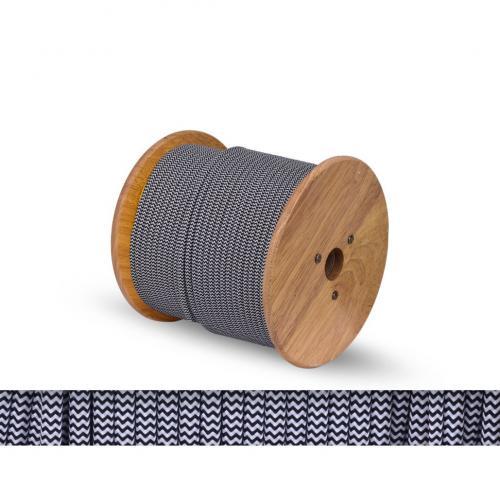 БЪЛГАРСКИ КАБЕЛ - Текстилен кабел кръгъл оплетка черно-бяло 2x0.75