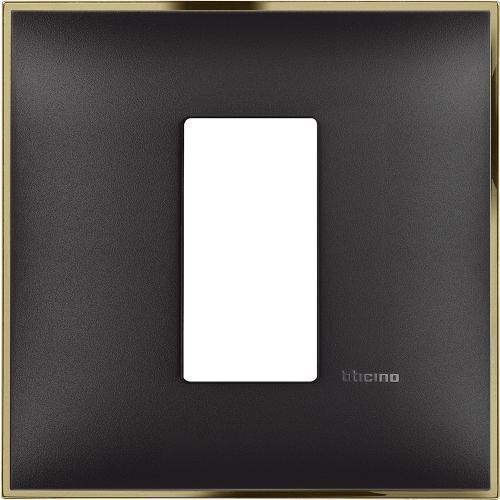 BTICINO - R4801BD Рамка 1М немски стандарт черно със златно Classia