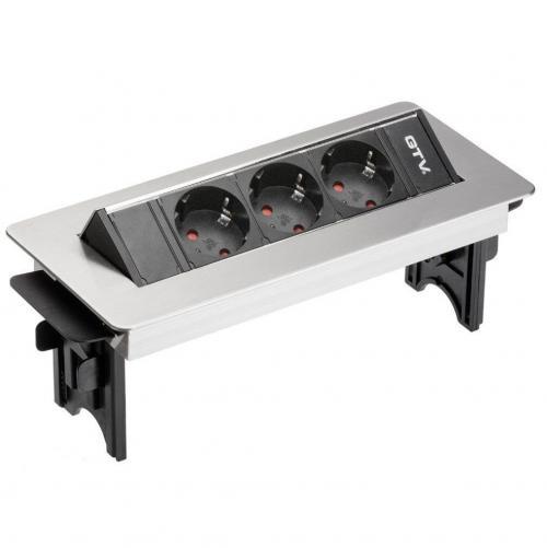 GTV Lighting - Контакт за вграждане в мебел метал инокс AE-PBC3GS-51BK контакт тип шуко 3бр.