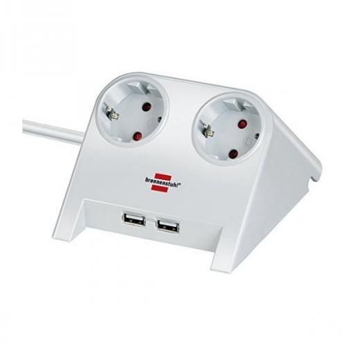 BRENNENSTUHL - Разклонител 2-ка, за бюро, с 2 USB зарядни порта, 1.8m кабел, бял, 1153520222