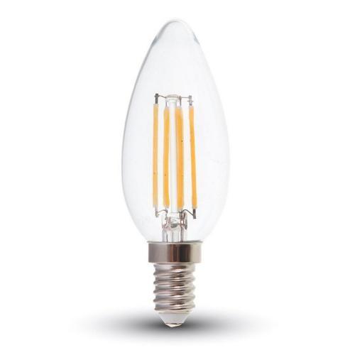 V-TAC - LED Bulb 6W Filament E14 Clear Cover Candle 3000K SKU: 7423 VT-2127, 4000K-7424, 6400K-7425