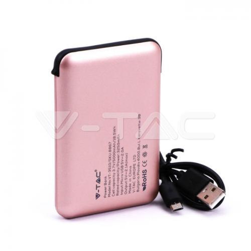 V-TAC - 5000 mAh Външна Батерия Дисплей Розова SKU: 8867 VT-3510