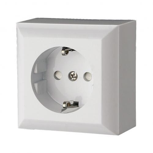 GAO - Единичен контакт шуко 16A бял открит монтаж IP20 GAO 0310H