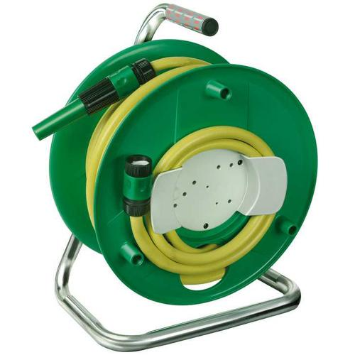 BRENNENSTUHL - 1237120 hose reel with 20m water hose (spraying nozzle, waterstop, top connector), portable water hose reel for outdoors