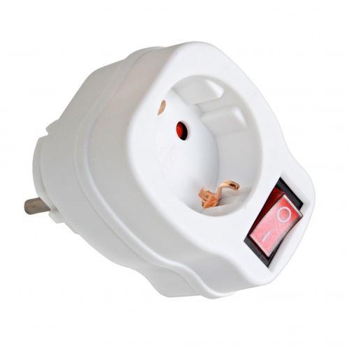 COmmel - Адаптер за контакт бял с ключ 1 х шуко Commel 40-301
