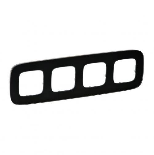 LEGRAND - Четворна рамка ALLURE 755534 черно стъкло