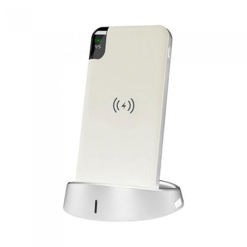 V-TAC - 8000 mAh Външна Батерия Безжично Зареждане Дисплей Бяла SKU: 8861 VT-3509