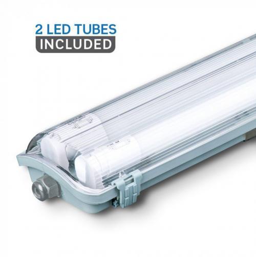 V-TAC - LED Влагозащитено тяло PC/PC 2x1200mm 36W Неутрална Светлина SKU: 6387 VT-12023, 6400К 6399