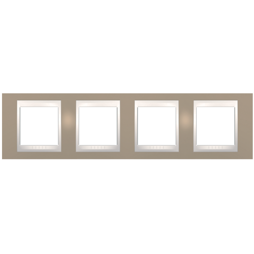 SCHNEIDER ELECTRIC - MGU6.008.574 рамка Unica Plus четворна млечно кафяв/слонова кост