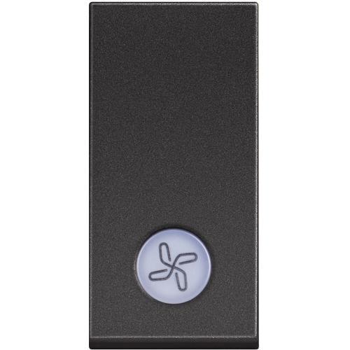 BTICINO - RG4001LR Еднополюсен ключ 10А с LED индикация и символ вентилатор Classia черен
