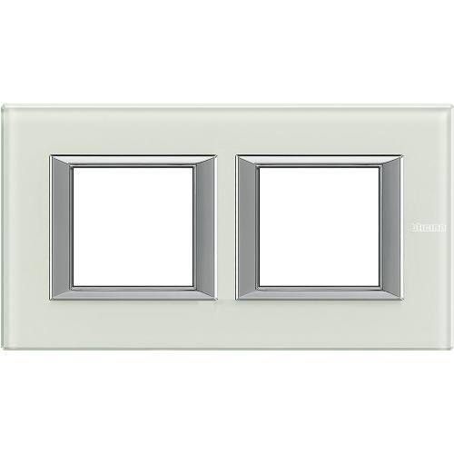 BTICINO - HA4802M2HVSW Двойна рамка 2х2М Whice стъкло правоъгълна Axolute