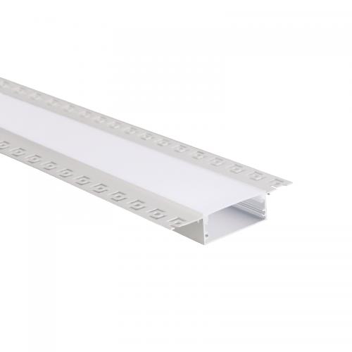 ACA LIGHTING - Алуминиев профил за лед лента за вграждане прав 2м. TEXA trimless с опалов капак P234
