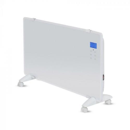 V-TAC - Конвектор 2000W стъклен бял панел с дисплей и дистанционно SKU: 8663 VT-2000WRD