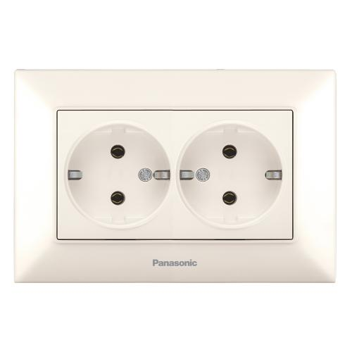PANASONIC - Двоен контакт Panasonic Arkedia Slim крем WNTC0205-2BG