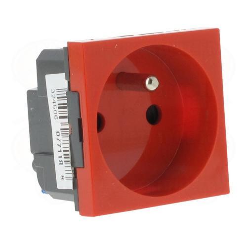 LEGRAND - 77118 Контакт ФРЕНСКИ стандарт 16А 2 мод. автоматични клеми червен Mosaic