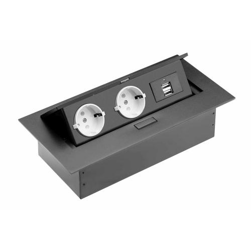 GTV Lighting -  AE-PBU02GS-20 Office extension (into table) 2 x sockets, 2xUSB, without cable, (black)