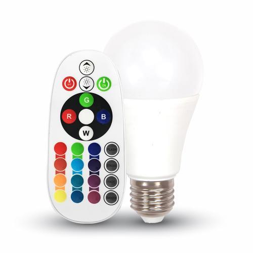 V-TAC - LED Крушка 6W E27 A60 RGB С Дистанционно Неутрално Бяла Светлина SKU 7150 VT-2007