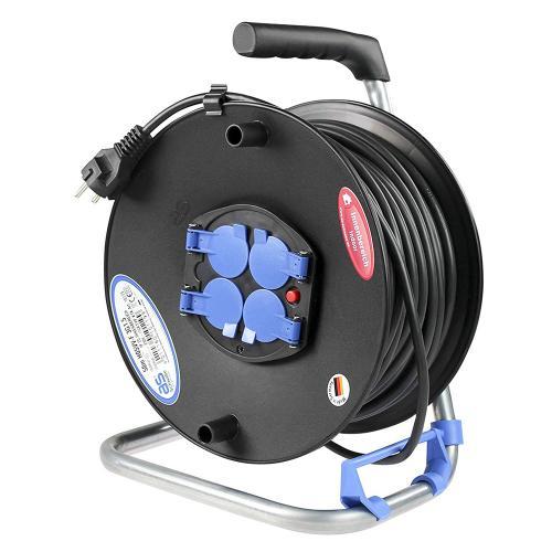 AS SCHWABE - Макара 25м H05VV-F 3G1.5mm2 термична защита 4 шуко с капак и водач на кабела 10118