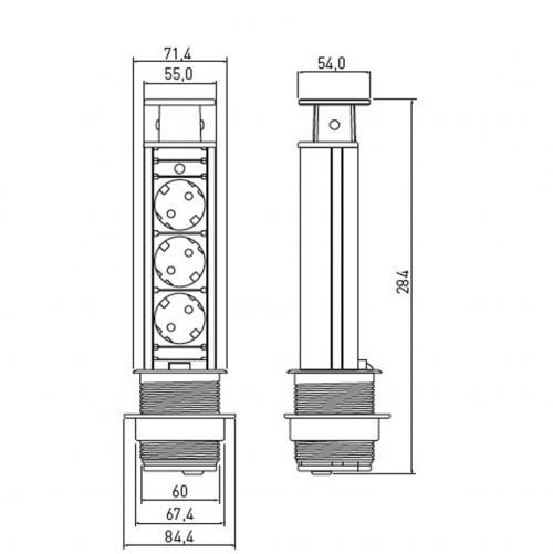 GTV Lighting - Контакт за вграждане в мебел сив AE-BPW3S60-80 контакт тип шуко 3бр.