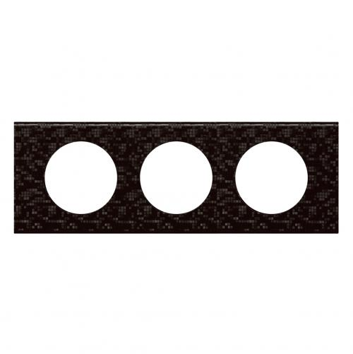 LEGRAND - Тройна рамка Celiane 69453 черна мозайка кожа