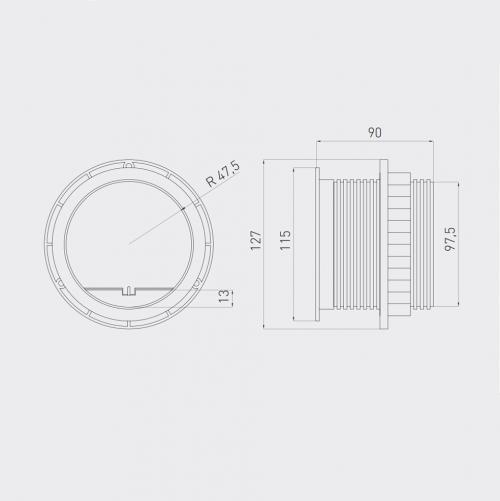 GTV Lighting - Контакт за вграждане в мебел AE-BPW1S2UCH-80 контакт тип шуко + 2хUSB 5V 2A
