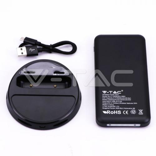 V-TAC - 8000 mAh Външна Батерия Безжично Зареждане Дисплей Тъмно Синя SKU: 8862 VT-3509