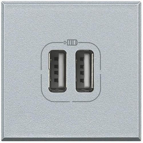 BTICINO - HC4285C2 Двойна USB розетка 230V алуминий
