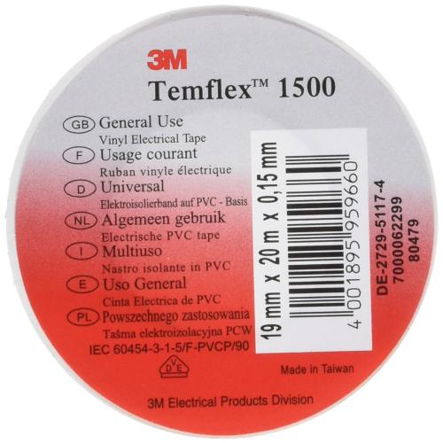 3M - Изолирбанд 3M Temflex 1500 бял 20mx19mmx0,15mm