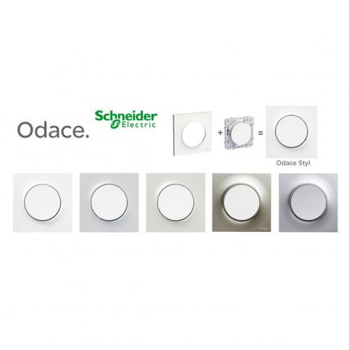 SCHNEIDER ELECTRIC - S540804P3 Odace Touch aluminium декоративна рамка двойна дърво с външен кант в цвят антрацит
