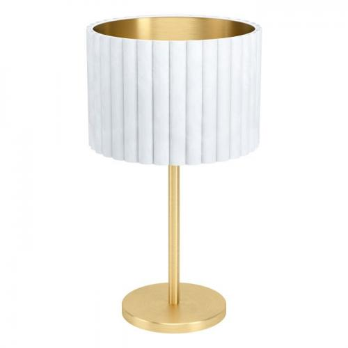 EGLO - Настолна лампа НА 1хE27 Ø300 H-520 драскан месинг/ бяло-златно 'TAMARESCO' 39766