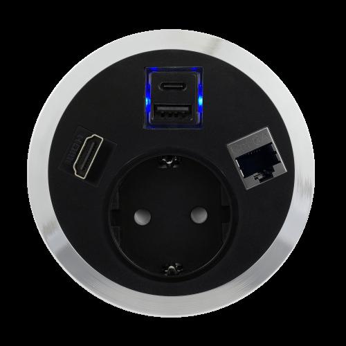 ABL - Модул Port El с хромиран ринг с 1х контакт Шуко 1хRJ45 cat.6A 1хHDMI и USB Smart charger А+C /1F/1SC/1D/1H/ цвят Черен