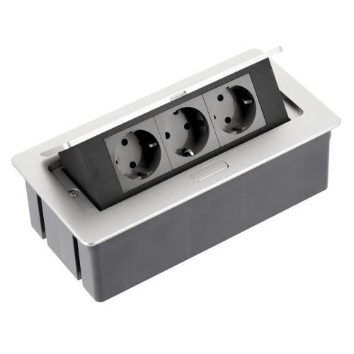 GTV Lighting - Контакт за вграждане в мебел метал сив AE-PBSC3GS-53 контакт тип шуко 3бр.