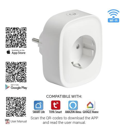 ULTRALUX - WFP16A Wi-Fi Smart контакт, единичен, 16А, 3500W, 220-240V AC