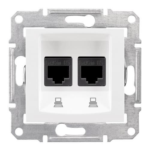 SCHNEIDER ELECTRIC - SDN4800121 Информационна розетка 2xRJ45 кат.6 UTP Sedna, 16А, бял