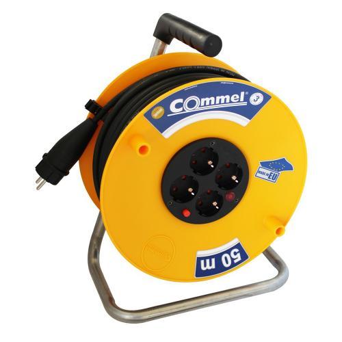 COmmel - Макара жълта 50м IP20 H05VV-F 3G1.5mm2 термична защита 4 шуко 0957