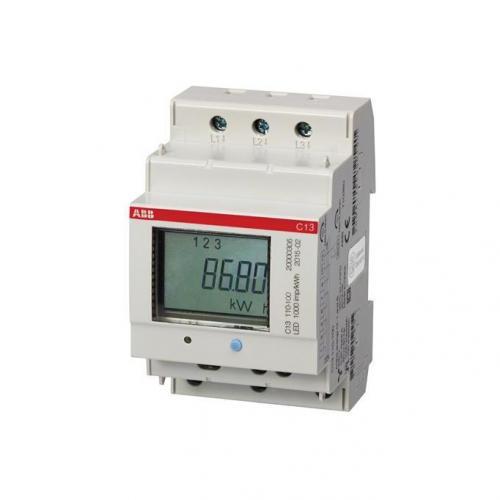ABB - Трифазен електромер ДИРЕКТНО мерене на ел.енергия C13, импулсен изход, eднотарифен,DIN монтаж 3 мод, 40A MID ABB 2CMA100191R1000