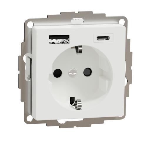 SCHNEIDER ELECTRIC - MTN2367-0325 КОНТАКТ С USB А+С  активно бяло System M /антибактериален/