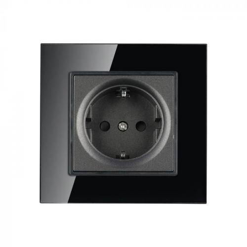 V-TAC - Единичен контакт черно стъкло 16A SKU 8399 VT-5711