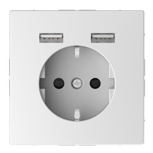 SCHNEIDER ELECTRIC - MTN2366-6035 Механизъм контакт шуко 16А + 2хUSB charger 2400mA с лицев панел лотус System Design