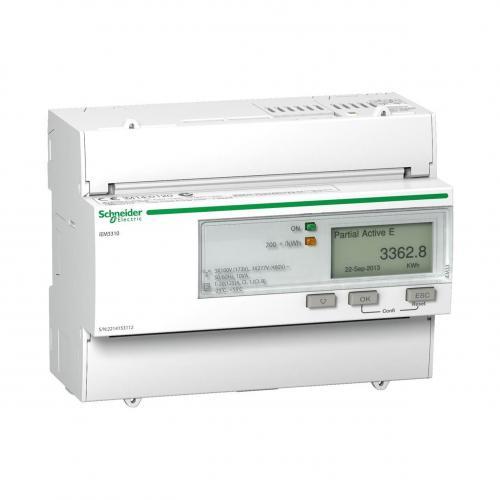 SCHNEIDER ELECTRIC - Трифазен електромер ДИРЕКТНО мерене на ел. енергия Acti 9 iEM импулсен изход еднотарифен DIN монтаж 7мод 125A MID SE A9MEM3310