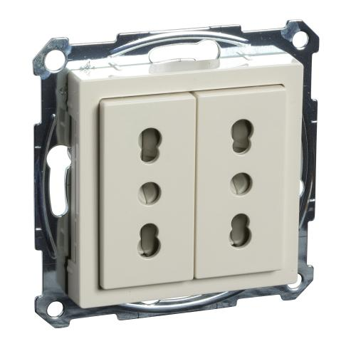 SCHNEIDER ELECTRIC - MTN2162-0344 Механизъм двоен контакт италиански с лицев панел крема System M