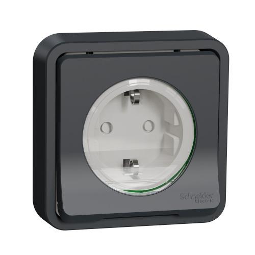 SCHNEIDER ELECTRIC - Влагозащитен контакт за скрит монтаж MUR36132 Mureva Styl антрацит