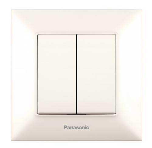 PANASONIC - Двоен сериен ключ Panasonic Arkedia Slim крем WNTC0009-2BG