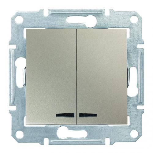 SCHNEIDER ELECTRIC - SDN0300368 Сериен ключ със синя глим лампа Sedna, 10А , титаний