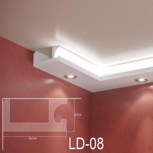 ADORN - Декоративен корниз за индиректно-осветление LD-08-2m 185х87 мм