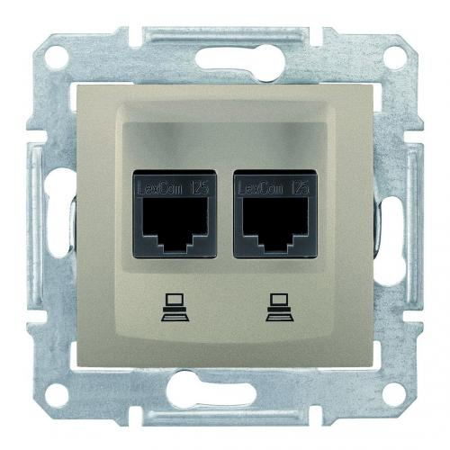 SCHNEIDER ELECTRIC - SDN4400168 Информационна розетка 2xRJ45 кат.5е UTP Sedna, 16А, титаний