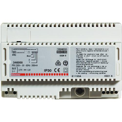 BTICINO - 346000 Power supply for 2 WIRE audio and video systems in 8 DIN modular enclosure